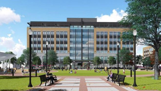 Renderings of the proposed $100 million city hall/police headquarters/parking garage complex in Royal Oak.