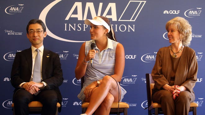 All Nippon Airways senior vice president of the Americas Yuji Hirako, golfer Lexi Thompson, and Rancho Mirage Mayor Iris Smotrich are speakers during a media day press conference Tuesday.