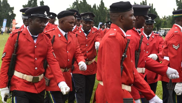 A detachment of the Nigerian police force march during