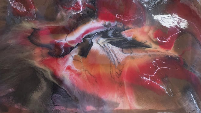 """On display at Artel Gallery, """"Tempestuous Abyss"""" by Velia Lala suggests a storm on a Jovian surface."""