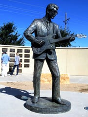 This statue of rock 'n' roll legend Buddy Holly is
