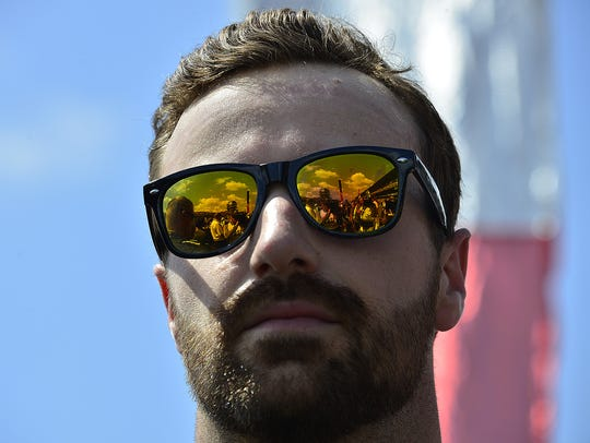 IndyCar driver James Hinchcliffe (5) before the start