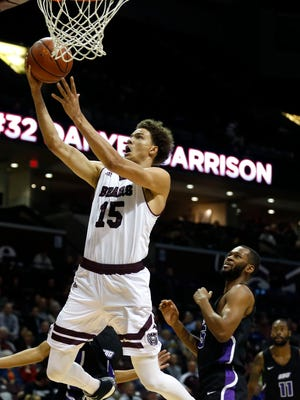 Missouri State Bear Jarrid Rhodes puts up a layup during an exhibition game against SBU at JQH Arena on Wednesday, Nov. 1, 2017