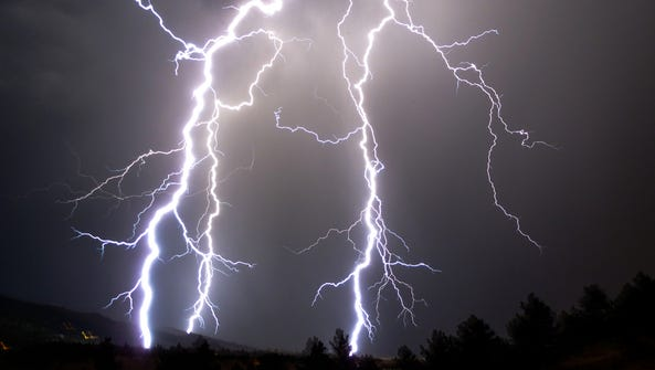 Lightning flashes in the skies over Boulder, Colo.