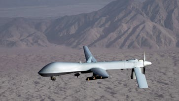 A Predator drone that uses Hellfire missiles.