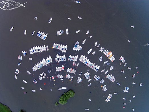An aerial shot taken by a drone operated by Troy Peterson at the Sandbar Bash on July 26, 2014 on Lake Butte Des Morts.