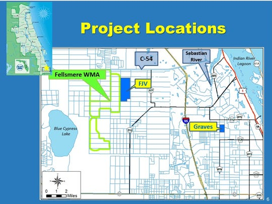 A $22.4 million, 13-year plan would reduce freshwater flows and prevent thousands of pounds of nitrogen and phosphorus into Indian River Lagoon. Under the plan, Fellsmere Joint Venture, LLC and Graves Brothers Co. will build water farms at two rural locations in Indian River County. (locations are in blue)