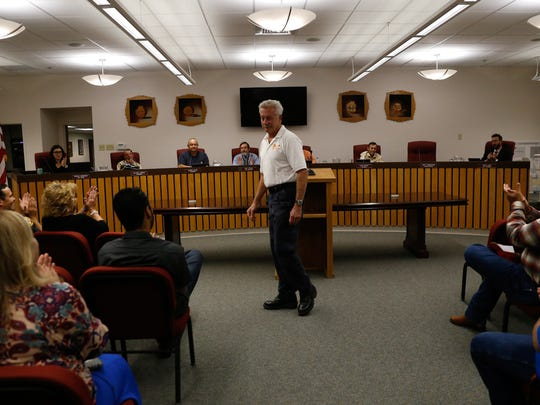 George Duncan, former chief of the Bloomfield Fire Department, addresses members of the Bloomfield City Council recently at Bloomfield City Hall.