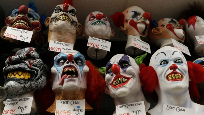 Some of the clown masks sold at Cappel's on Race Street in downtown Cincinnati.