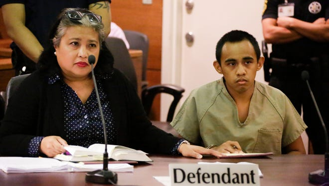 Convicted murderer Chad De Soto, right, attends a hearing with public defender Jocelyn Roden at the Superior Court of Guam on Thursday. The hearing was held on De Soto's request for a reduced prison sentence or to have him committed to the Guam Behavioral Health and Wellness Center.