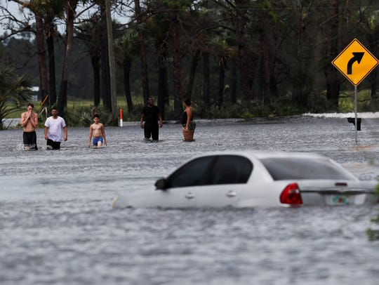 Sunshine Boulevard in Lehigh Acres was flooded at the
