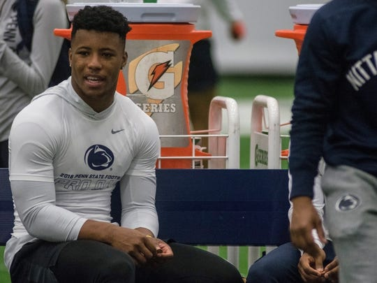 Mar 20, 2018; University Park, PA, USA; Penn State Nitanny Lion Running Back Saquon Barkley (26) at Penn State Football Pro Day.  Mandatory Credit: Eric Firestine-USA TODAY Sports