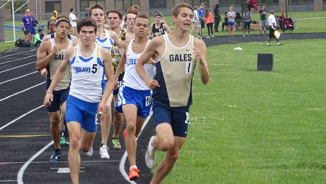 Lancaster senior Andy Ferris leads the 800 on Saturday during the Division I District 2 meet at Hilliard Darby. Ferris won the event.