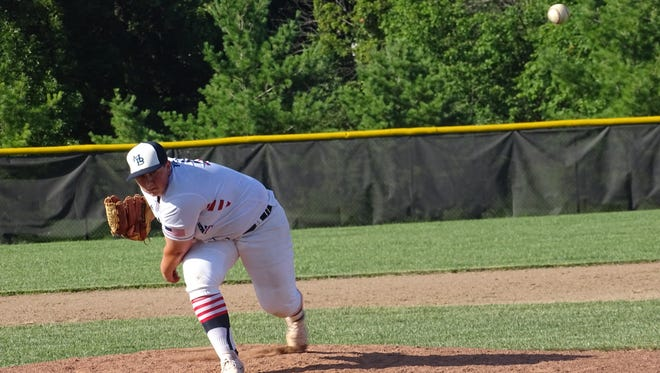 Drew Young throws a pitch for the 18U Mustangs Elite this past Saturday during a Buckeye Elite game at Westerville Central.