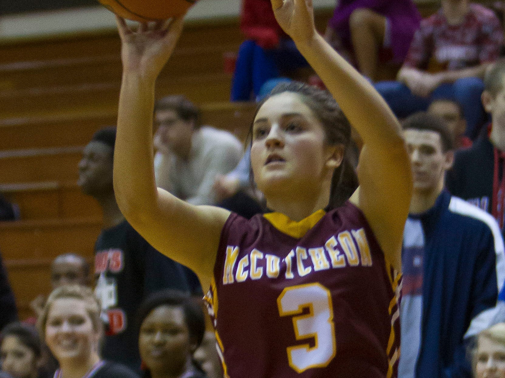 McCutcheon's Gabby gary, 3, puts up a shot during their game against Lafayette Jeff Thursday, January 16, 2014, at Jeff High in Lafayette. McCutcheon won 56-40.