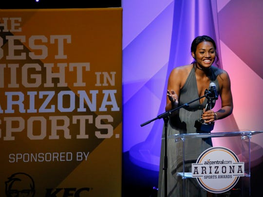 Girls Volleyball Big Schools Player of the Year Khalia Lanier of Phoenix Xavier Prep accepts her award during the Arizona Sports Awards at the Orpheum Theatre in Phoenix on June 5, 2016.