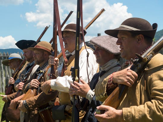 Re-enactors, as associators, stand in formation at the State Historic Fort Loudoun during Colonial Day on Saturday, June 18, 2016 in Fort Loudon. Pennsylvania did not have militia law during colonial times, in place of that was the associators, who were subjects of King George.