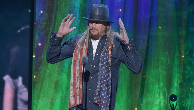 Kid Rock inducts Cheap Trick at the 31st Annual Rock And Roll Hall Of Fame Induction Ceremony at Barclays Center on April 8, 2016, in New York.