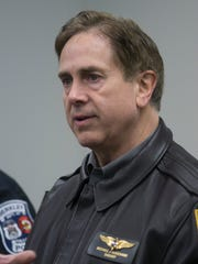 Oakland County Sheriff Mike Bouchard briefs the media