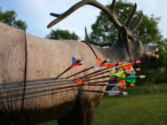 "Arrows shot by Warren and Easton Holder sit in a 3-D target of an elk. The children are part of a reality television show to air on the Outdoor Channel. The series, ""Raised Hunting,"" explores the passion of hunting and life lessons handed down by their parents, David and Karin. The family resides in rural Winterset."