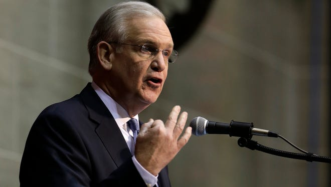 Then-Missouri Gov. Jay Nixon delivers the annual State of the State address to a joint session of the House and Senate, Wednesday, Jan. 20, 2016, in Jefferson City.