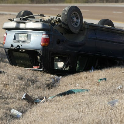 One of the vehicles involved in a two-vehicle wreck