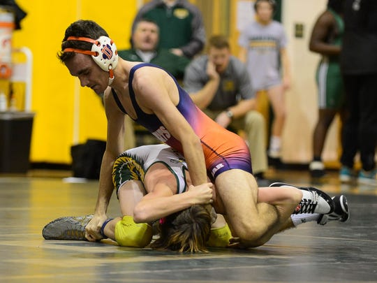 Delmar's Isaac O'Neal competes against Indian River's Ian Shaubach on Wednesday.