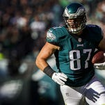 Eagles tight end Brent Celek had four receptions for 134 yards Sunday against the Miami Dolphins.