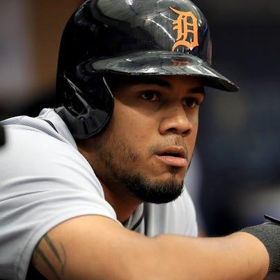 Tigers third baseman Jeimer Candelario looks on during