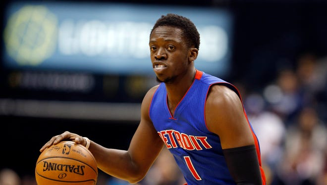Pistons guard Reggie Jackson drives to the basket against the Pacers during the Pistons' 105-84 loss Saturday, Feb. 4, 2017 in Indianapolis.