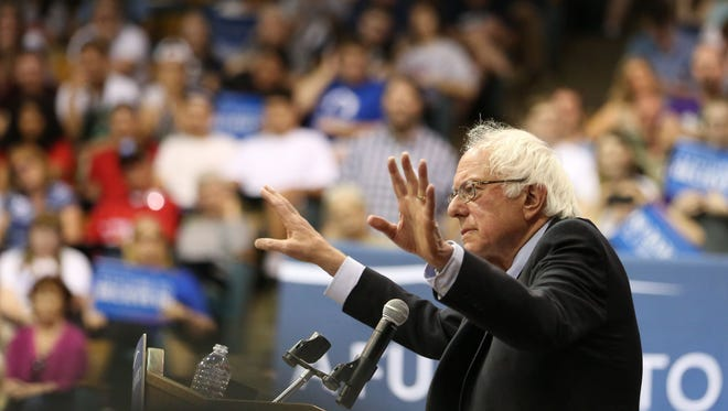 Democratic presidential candidate Sen. Bernie Sanders  speaks to a crowd of thousands at Salem Armory during a campaign rally on Tuesday, May 10, 2016, in Salem, Ore.