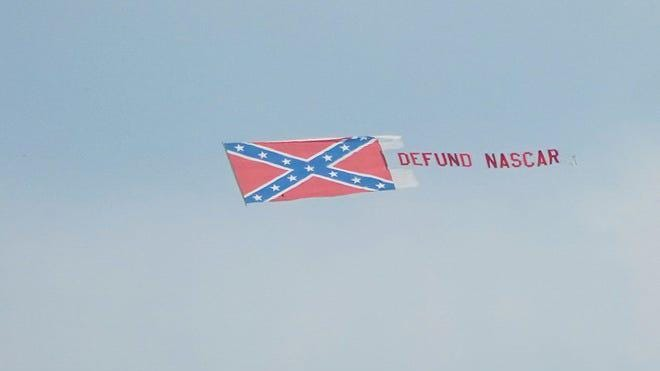 "A banner flew over Talladega on June 21 that read: ""DEFUND NASCAR."""