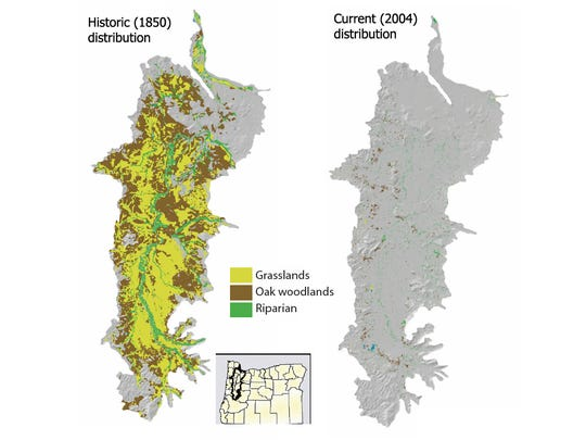 Distribution of habitats targeted for conservation.