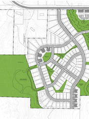 A proposed layout of open space (in green) and housing