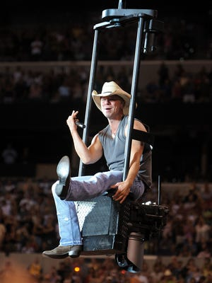 Kenny Chesney takes an above-the-crowd ride to the stage at Lucas Oil Stadium.