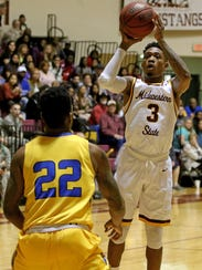 Midwestern State's Devante Pullum puts up a short jumper