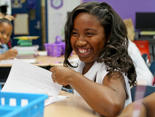 J.S. Clark Magnet students attend the first day of school Thursday morning.