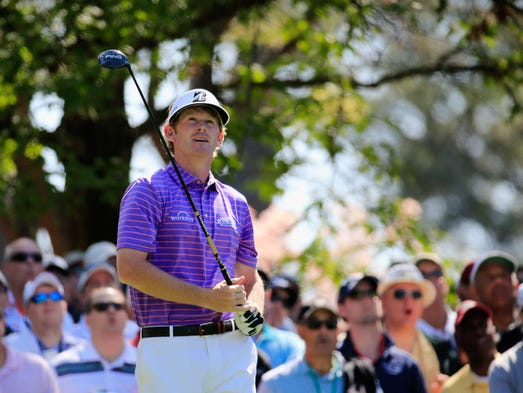 Brandt Snedeker of the United States watches his tee shot on the fourth hole during the first round of the 2014 Masters Tournament at Augusta National Golf Club on April 10, 2014 in Augusta, Georgia.