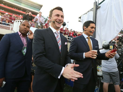 Texas A&M Aggies quarterback Johnny Manziel on the field before the 2014 BCS National Championship game between the Auburn Tigers and the Florida State Seminoles at the Rose Bowl.