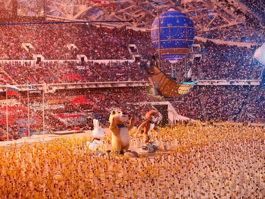 The Olympic mascots perform during the closing ceremony.