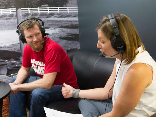 Dale Earnhardt Jr.'s burgeoning Dirty Mo Radio podcast lineup features a show hosted by older sister Kelley Earnhardt Miller, right. Earnhardt Jr. was a guest on Fast Lane Family for the first time Aug. 5, 2014.