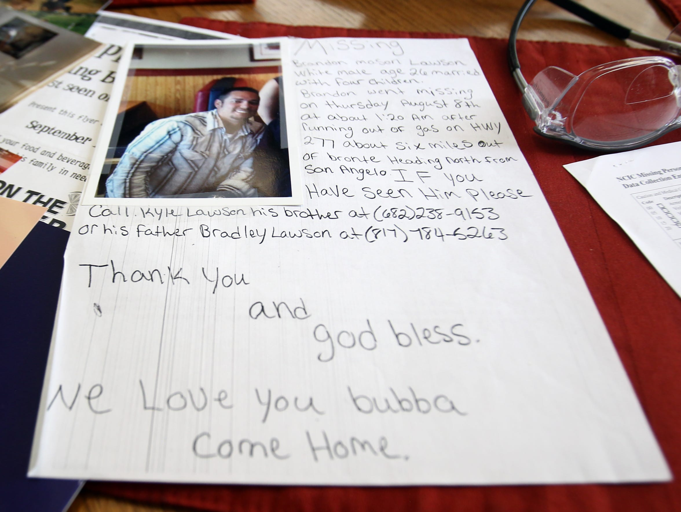 A handwritten flier from when Brandon Lawson went missing