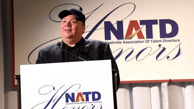 Kirt Webster, honoree and CEO/president of Webster PR, speaks onstage during the National Association of Talent Directors honors gala Nov. 9, 2015, in Nashville. Amid sexual harassment allegations, Webster was named the 2017 PR People Awards publicist of the year, but Wednesday, Dec. 6, 2017, PR News removed Webster from its website listing him as the winner.
