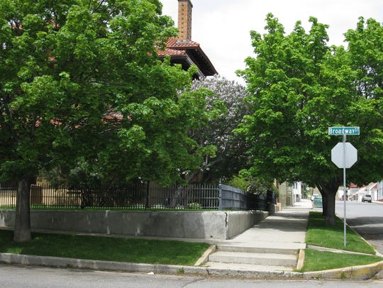 Historic uptown Butte with well-maintained trees. A