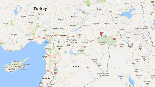 Footage posted by Syrian activists online showed a convoy of U.S. armored vehicles driving on a rural road in the Syrian village of Darbasiyah, a few hundred meters south of the Turkish border.