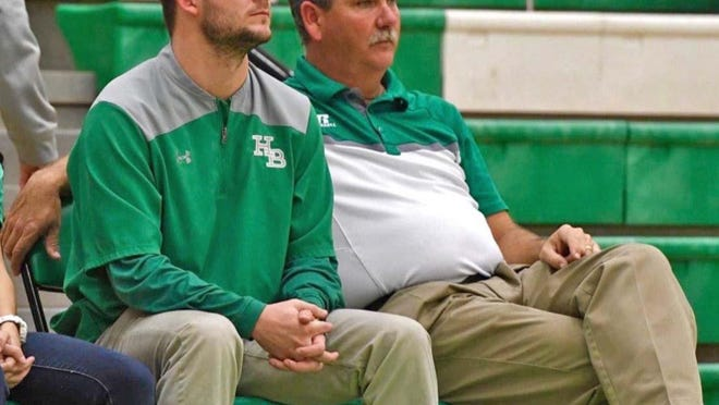 Evan Talbot, left, is the new varsity girls basketball coach at Hokes Bluff High School. He takes over for Jason Shields, right, who is now the women's basketball coach at Snead State Community College.