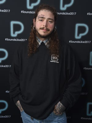 Post Malone poses backstage at Pandora Sounds Like You: 2017 on December 5, 2017 in New York City.