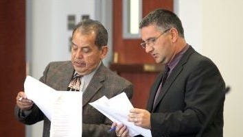 Attorney Mario Torrez and 12th Judicial Chief Deputy District Attorney David Ceballes in an undated Daily News file photo.