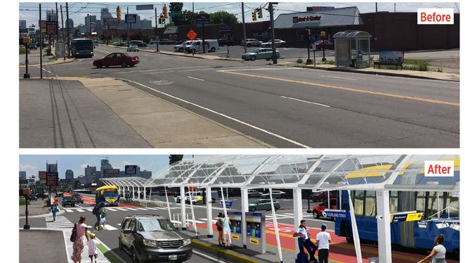 A before and after of what the Nashville Bus Rapid Transit route could look like on Dickerson Pike north of Cleveland Street looking south.
