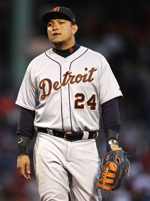 Miguel Cabrera looks on during the third inning against the Boston Red Sox at Fenway Park on June 6 in Boston.